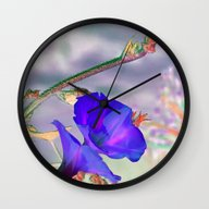 Wall Clock featuring Blue Glories In The Morn… by Bella Mahri-PhotoArt…
