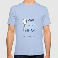 1 In Million Mens Fitted Tee Tri-Blue SMALL