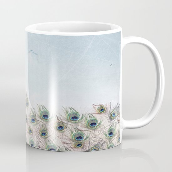 Fly Over A Peacock Field Mug