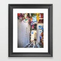 Tiffany Glass Style Greece Street Framed Art Print