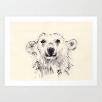 Polar Bear Smiling Black… Art Print