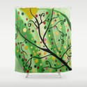 Colorful Abstract Tree Acrylic Painting Art  by Saribelle Rodriguez Shower Curtain