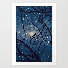 Moon light Crow Art Print