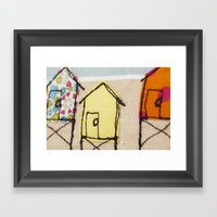 Embroidered Beach Huts Framed Art Print