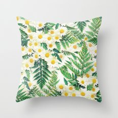 Textured Vintage Daisy and Fern Pattern  Throw Pillow