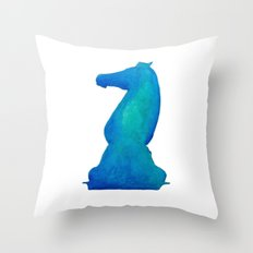Chess Knight Watercolor Throw Pillow