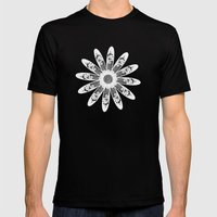 White lace Mens Fitted Tee Black SMALL