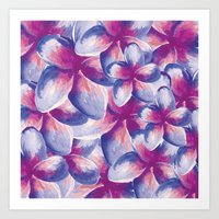 Purple Plumeria Floral Watercolor Art Print