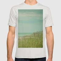 Sea Shore Mens Fitted Tee Silver SMALL