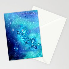 teal glitter abstract Stationery Cards