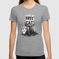 Free Cat Womens Fitted Tee Tri-Grey SMALL