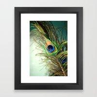 Peacock Feather-teal Framed Art Print