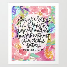 Proverbs 31:25 Floral // Hand Lettering Art Print