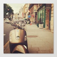 Vespa In Paris Canvas Print