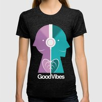 Good Vibes Womens Fitted Tee Tri-Black SMALL