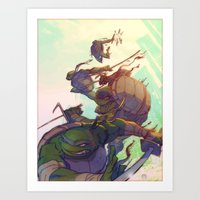 Fearsome Fighting Teens Art Print