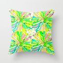 Dahlia Blue Green and Pink Throw Pillow