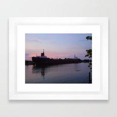 Ship at Dusk Framed Art Print