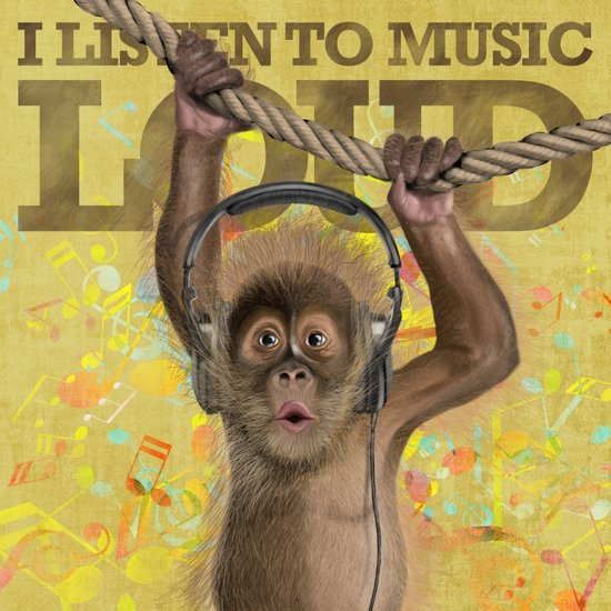 A baby monkey listening to music. Canvas Print