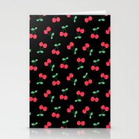 Cherries on Black Stationery Cards