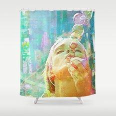 Soap bubbles  Girl Shower Curtain