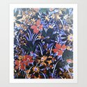 Midnight Floral Garden Art Print