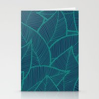 Blue Green Leaves Stationery Cards