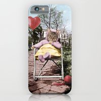 iPhone & iPod Case featuring Pretty little Kitty with a heart balloon by Peter Gross