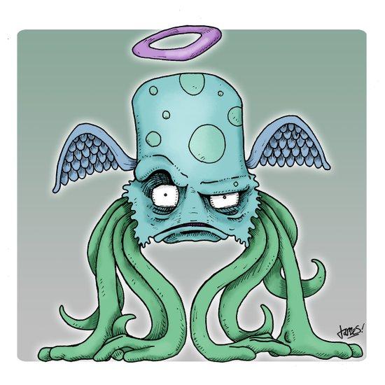 Space Alien Sci Fi art by RonkyTonk Art Print