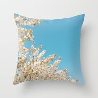Wave of Flowers Throw Pillow