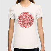 Illusionary Daisy (Red) Womens Fitted Tee Natural SMALL