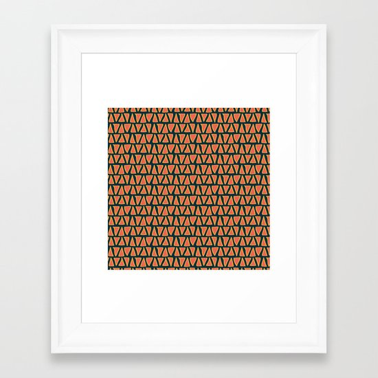 Desert Triangles - Geometric Orange and Blue Pattern Framed Art Print
