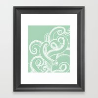 Octopus - Seafoam And Wh… Framed Art Print