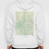 El Paso Map Blue Vintage Hoody