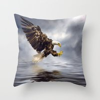 Young Bald Eagle Swoopin… Throw Pillow