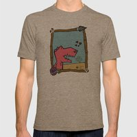 DINO GIRL   Mens Fitted Tee Tri-Coffee SMALL