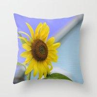 Summer Cottage Sunflower Throw Pillow