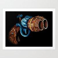 Black Double Barrell Art Print