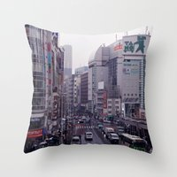 Shinjuku Skyline Throw Pillow