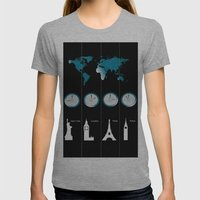 TIME ZONES. NEW YORK, LONDON, PARIS, TOKYO Womens Fitted Tee Athletic Grey SMALL
