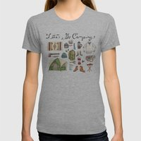 Let's Go Camping Womens Fitted Tee Athletic Grey SMALL