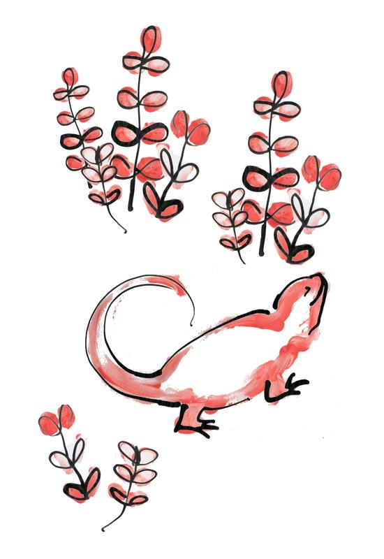 Happy Lizard Art Print