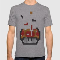 Super Mario Mushroom Tetris Mens Fitted Tee Athletic Grey SMALL