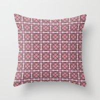 Lotus Floral Tile Patter… Throw Pillow