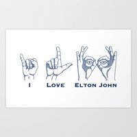 I Love Elton V2 Art Print