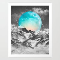 teal Art Prints featuring It Seemed To Chase the Darkness Away (Guardian Moon) by soaring anchor designs