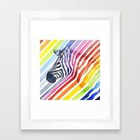 Rainbow Zebra Pattern (square) Framed Art Print