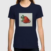 Strawberry Womens Fitted Tee Navy SMALL