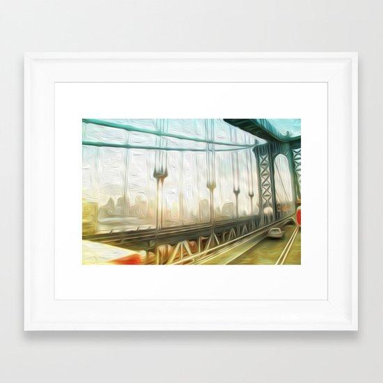 manhattan bridge morning Framed Art Print