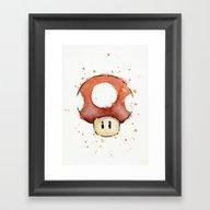Red Mushroom Watercolor Framed Art Print